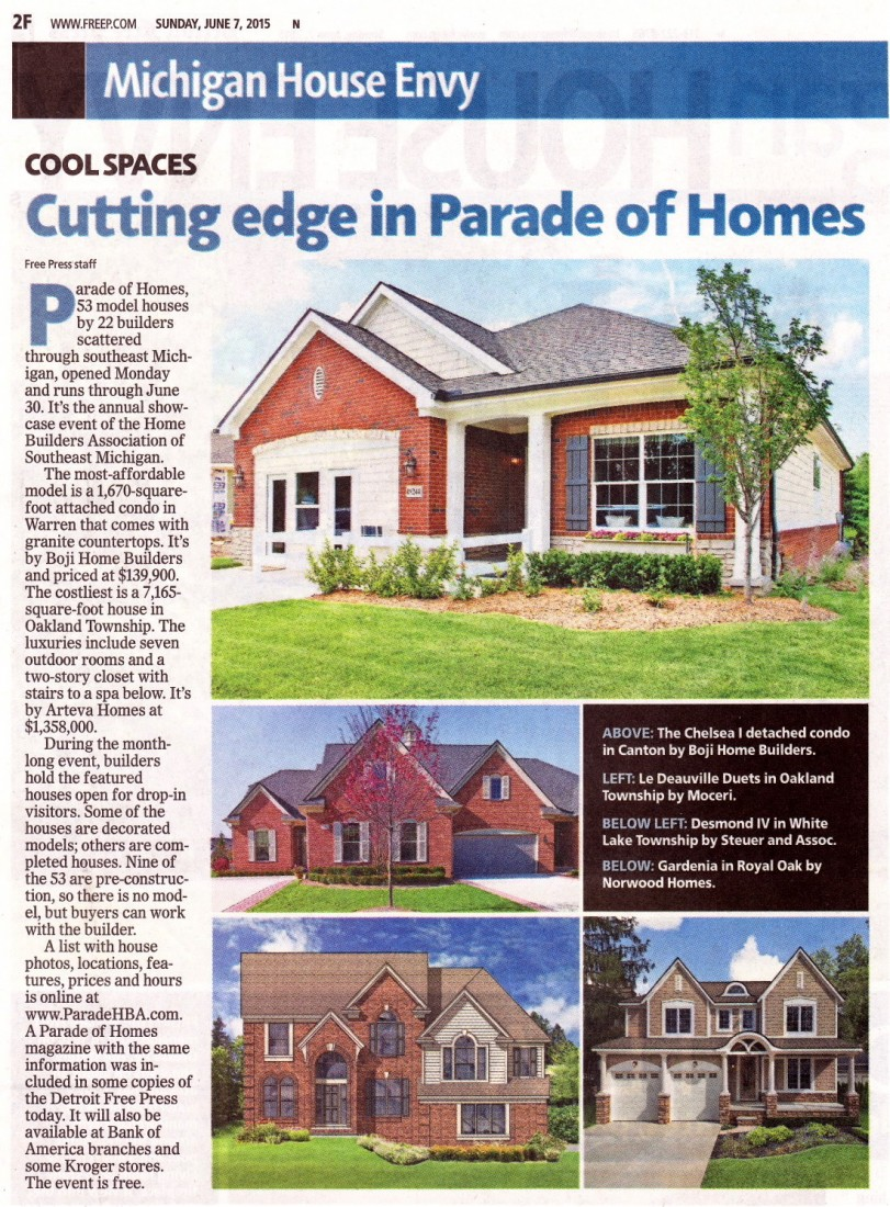 New Homes For Sale Canton MI - Real Estate, Home Builders, Contractors - Steuer and Associates Inc - 2015_Parade_of_Homes_Article_